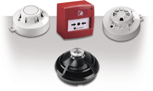 Examples of smoke detection units and a wall mounted fire alarm trigger.